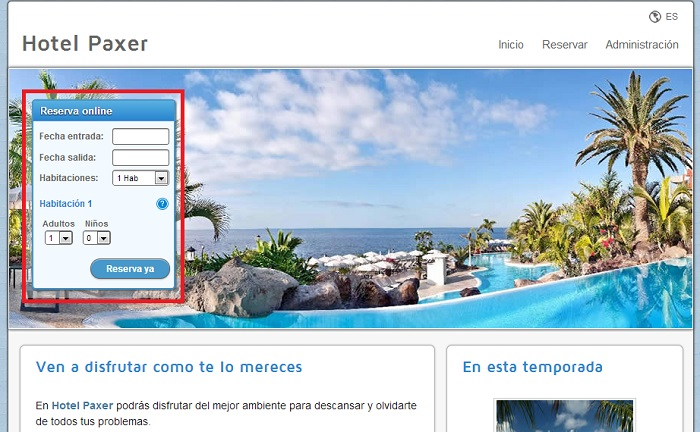 sitio web hotel red